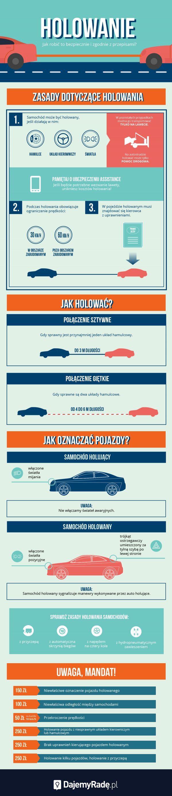 Jak holować, żeby było bezpiecznie? Jak oznakować samochody? Wyjaśniamy. #dajemyrade