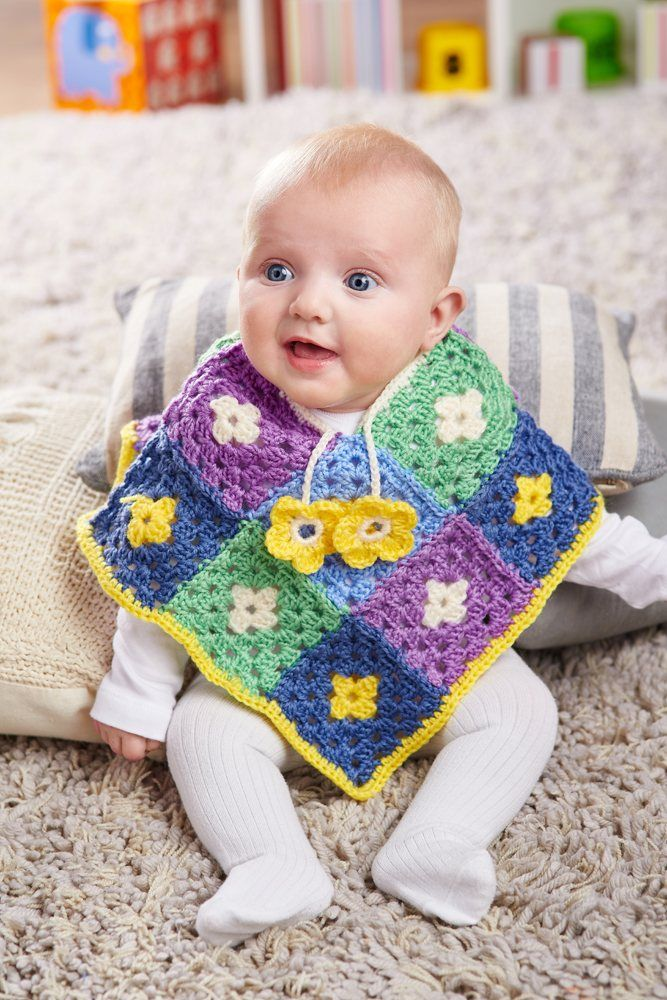 FREE CROCHET PATTERN: Baby daisy poncho
