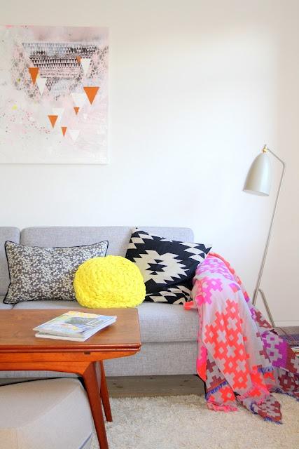 Living room featuring the GUBI Grasshopper Floor Lamp http://www.nest.co.uk/product/gubi-gr%C3%A4shoppa-floor-lamp and the Hay Mega Knit Throw http://www.nest.co.uk/browse/brand/hay/hay-mega-knit-throw