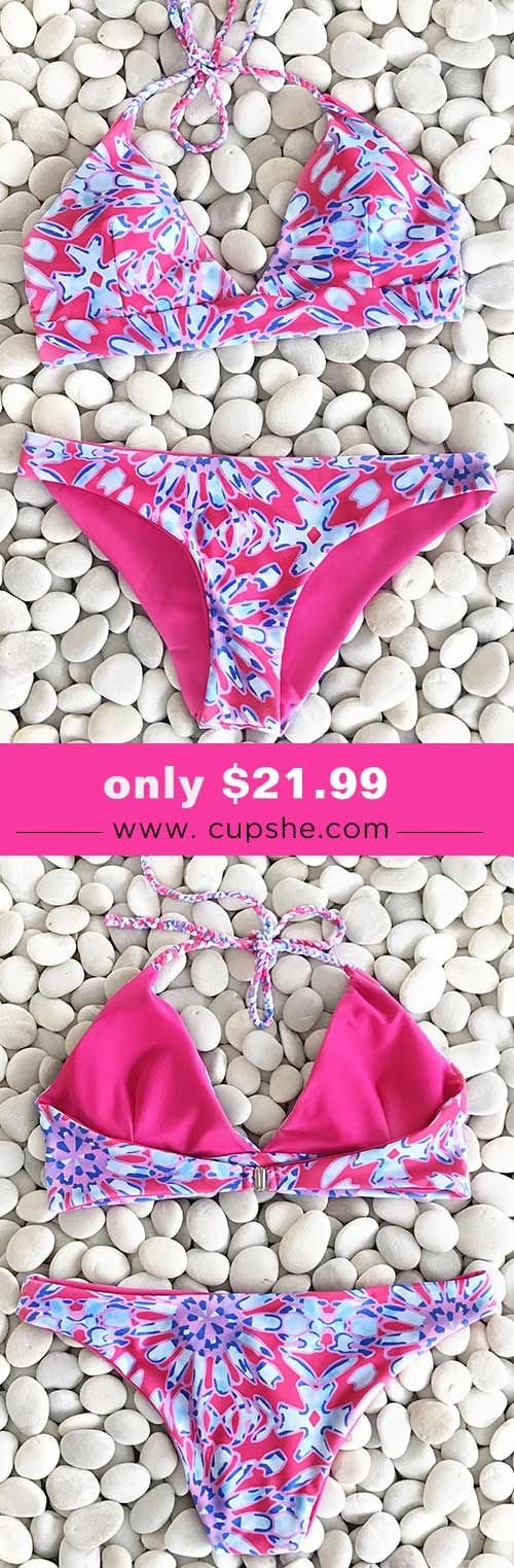 Celebrate the season with special items. Faster shipping! We are super excited about this soft piece! This piece is detailed with triangle design top&high-leg-cut bottom! Check it out.