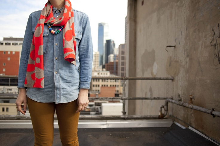 Image of Neon Pebble Scarf in Neon Red