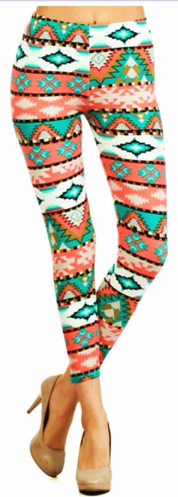 Cowgirl Gypsy AZTEC print PANTS Leggings  White Coral MULTI Southwest One Size #leggingsdepot