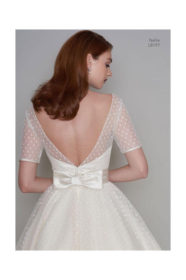 LB197 NELLIE 1950s Tea Length Polka Dot Short Vintage Wedding Dress
