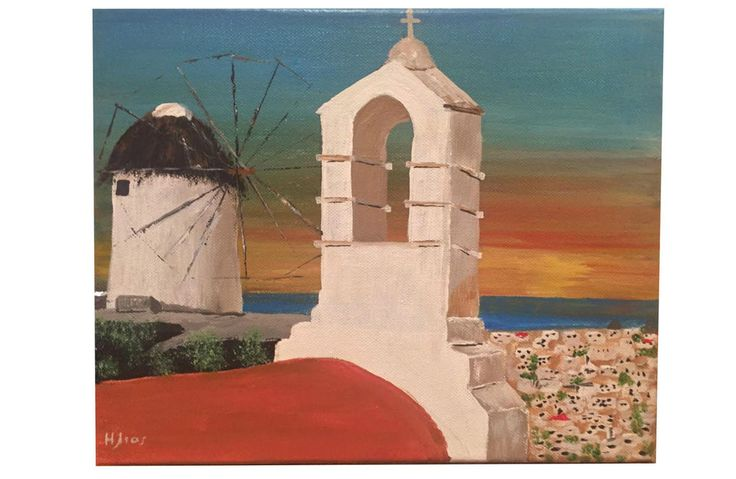 Wall Painting 30 x 25cm Canvas Greek Chapel in Mykonos Island 100% Hand Painted in Art, Contemporary Paintings, Other Contemporary Paintings | eBay