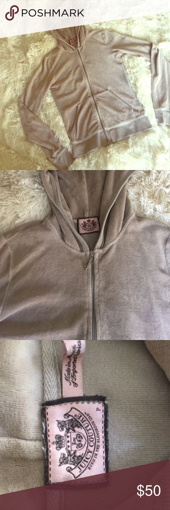 Juicy Couture Tracksuit Jacket Beige, gently worn but in fabulous condition, size is Petite so it's for someone pretty little. Tag and zipper still intact. Juicy Couture Sweaters