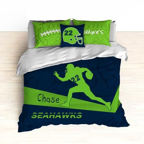 Seahawks Bedding, Personalized Football Bedding, Custom Football Bedding, Green and Blue, Duvet or Comforter, Football Bed