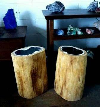 https://flic.kr/s/aHskWyiX6j | Rustic Wood Log Side Table  | Rustic Wood Log Side Tables made from genuine petrified wood stumps.