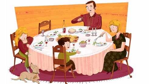 Illustration of a father, mother, son and daughter eating a passover seder meal.