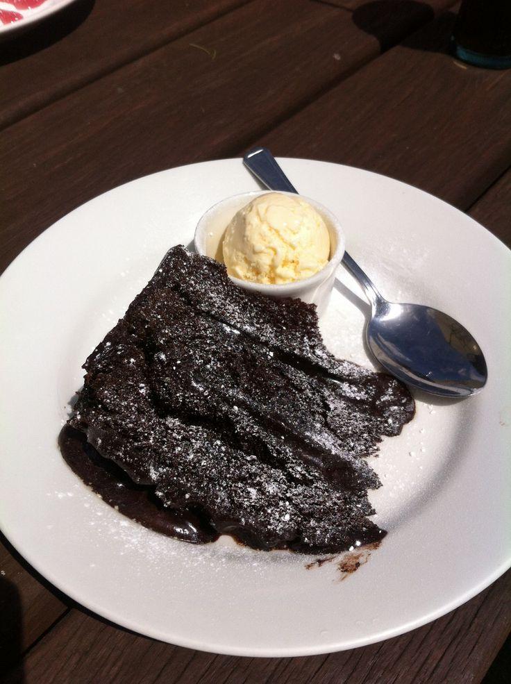 Chocolate fudge cake and ice cream.... Yum!