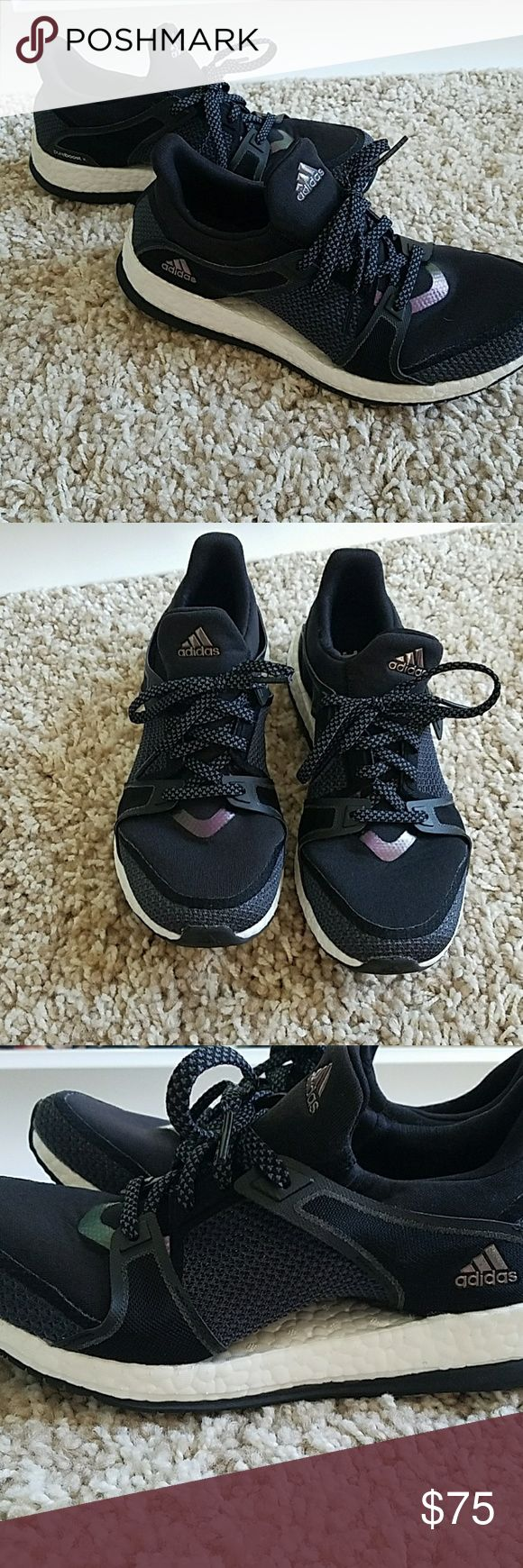 Adidas pure boost sneakers 7.5 Adidas pure boost. Size 7.5. True to size. Very comfy. Black and dark grey with a small purple-ish reflector on top. Great condition. Only worn once. Selling because I have dozens of shoes I don't wear. adidas Shoes Athletic Shoes