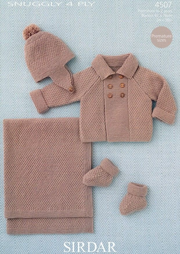 Baby Boy's Coat, Helmet, Booties and Blanket in Sirdar Snuggly 4 ply (4507) | Deramores