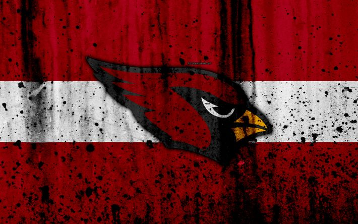 Download wallpapers 4k, Arizona Cardinals, grunge, NFL, american football, NFC, USA, art, stone texture, logo, West Division