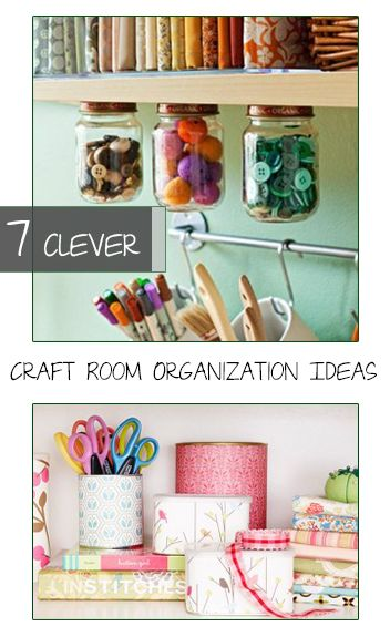 7 Clever Craft Room Organization Ideas- Ways to stay organized and keep your craft room neat and tidy.