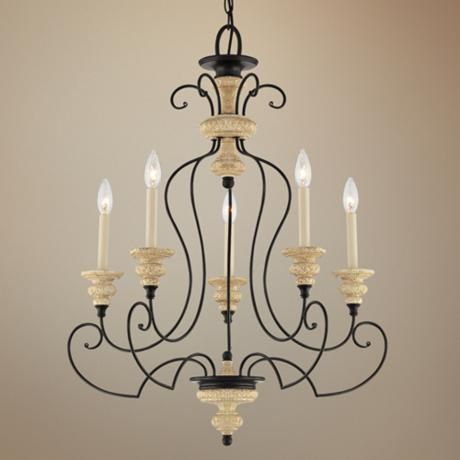 "Quoizel Shelby Sand Bisque 26"" Wide Chandelier -"