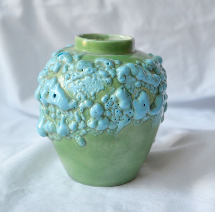 GREEN POTTERY VASE  with Aqua Blue Textured Accents Small Accent Vase Hand Made by StudioVintage on Etsy
