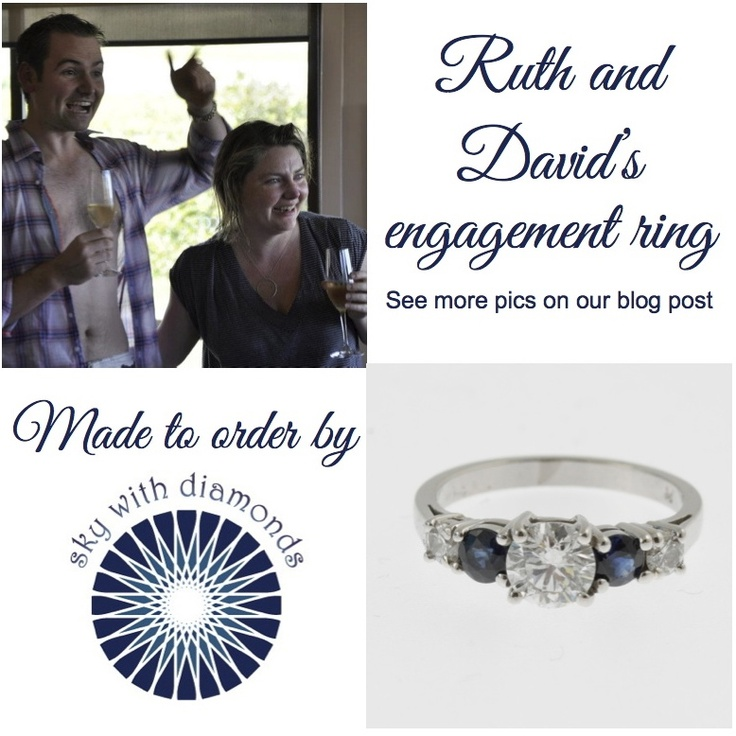 How secret meetings between Dave and our jewellery designer led to this exciting day where Ruth said yes! http://www.skywithdiamonds.com.au/blogs/news/7799795-diamond-and-sapphire-engagement-ring