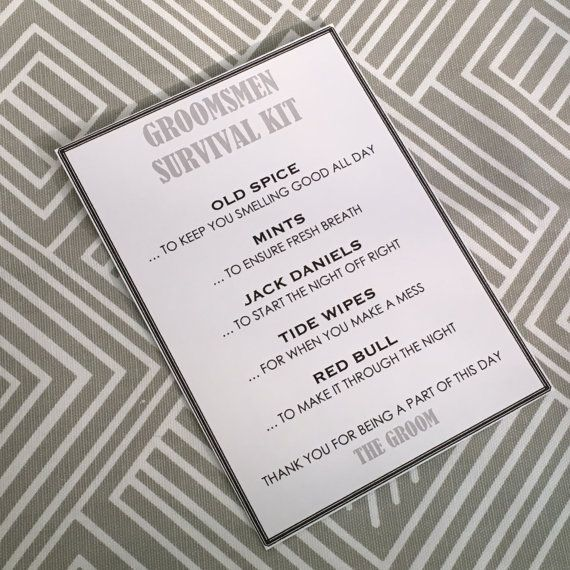 Groomsmen Survival Kit  5x7  Postcard  Hard Copy