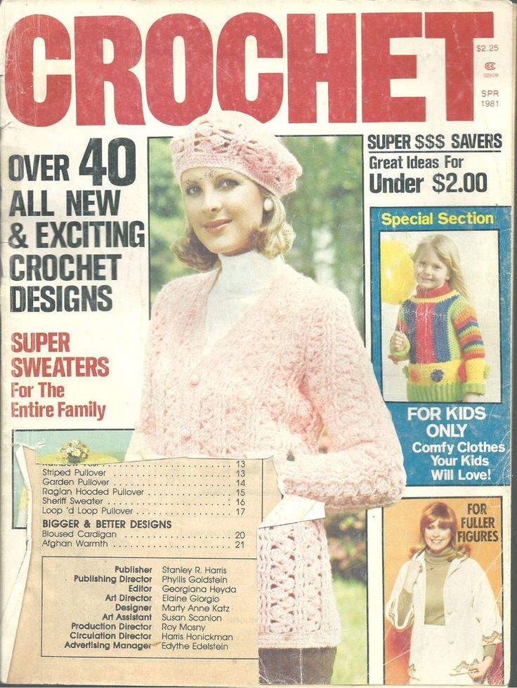 Crochet Magazine Spring 1981 Sweaters Slippers Hangers Tablecloth