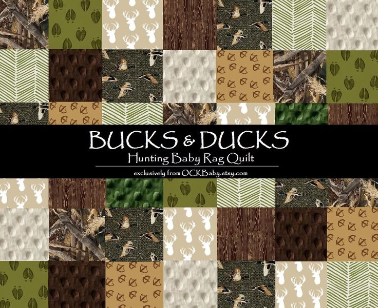 Baby Rag Quilt -BUCKS & DUCKS™ - Exclusively from OCKBaby - deer hunting, duck hunting, camo baby bedding by OCKBaby on Etsy https://www.etsy.com/listing/240851323/baby-rag-quilt-bucks-ducks-exclusively