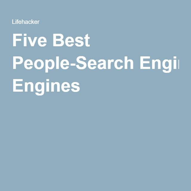 Five Best People-Search Engines