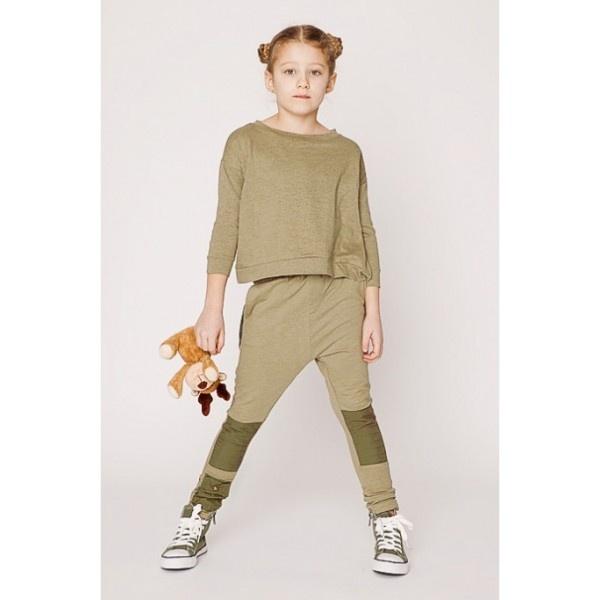 Shampoodle street pants fijne legergroene broek met lappen