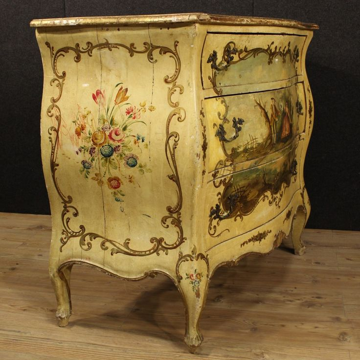 Venetian Dresser Of The Twentieth Century. Mobile Rough And Convex Ornately  Carved Wood, Lacquered