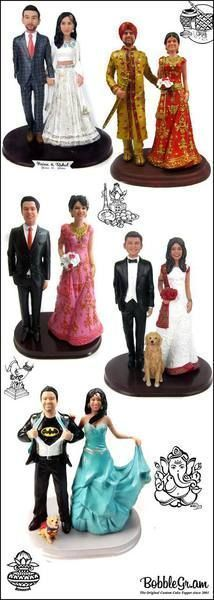 Customize one of our stunning Indian Wedding Cake Toppers with your faces, hair and clothing.