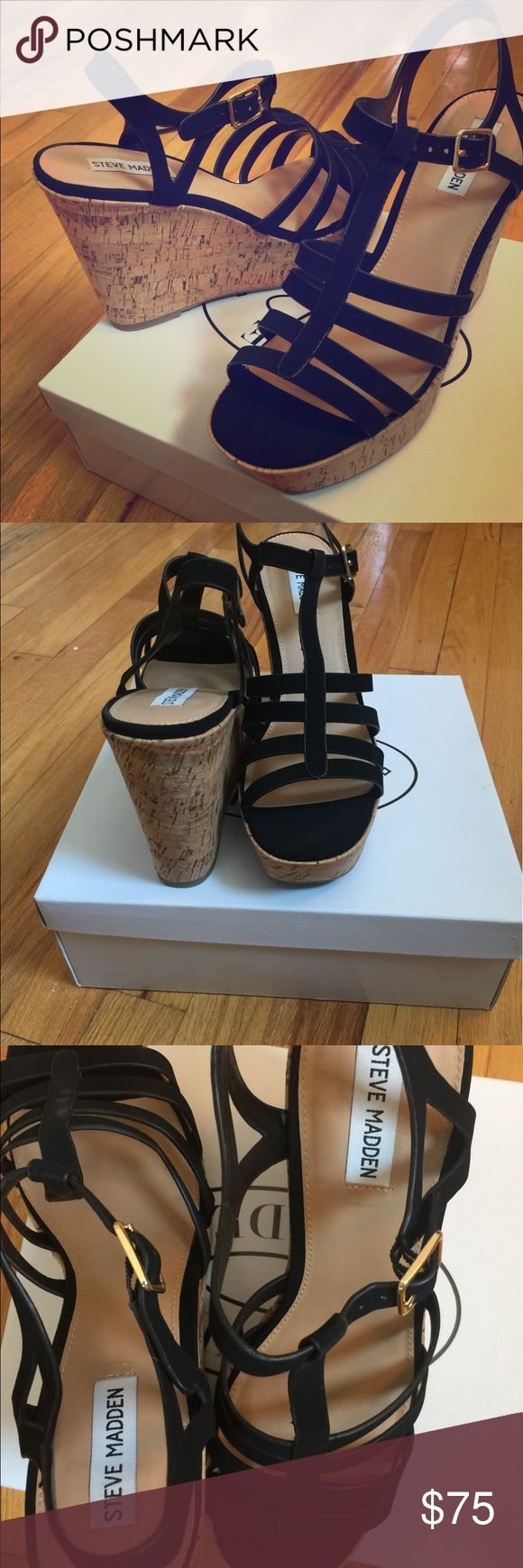 """Steve Madden Nalla Wedge Sandal Black Steve Madden's Nalla sandals step up your style from day to night with a strappy design and faux cork platform wedge heel. Round open toe T-strap slingback platform wedge sandal. Adjustable buckle closure at ankle strap. 4-1/2"""" Wedge heel, 1-1/4"""" platform, feels like 3-1/4"""" heel. Nubuck leather upper, manmade sole. PRICE IS FIRM. In excellent condition. Worn only once. Smoke free home 🚭 Steve Madden Shoes Sandals"""