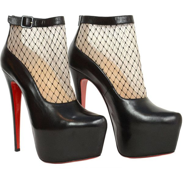 Pre-owned CHRISTIAN LOUBOUTIN Sz. 40.5 Black Leather Resillissima Mesh... (4.765 VEF) ❤ liked on Polyvore