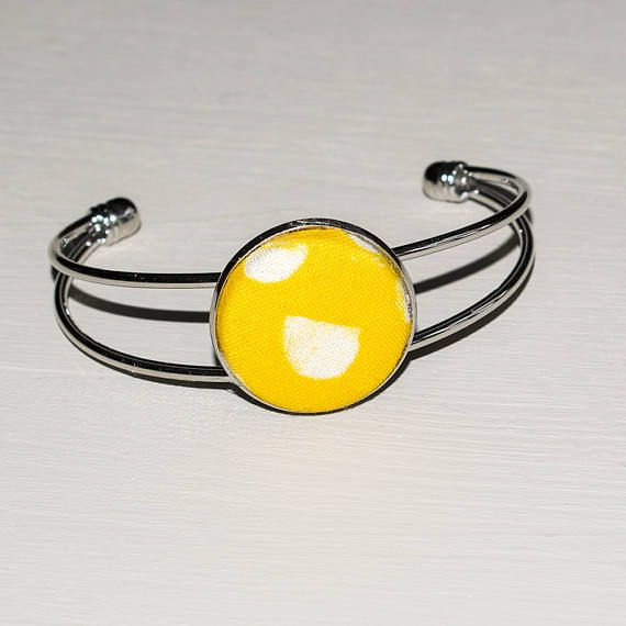 Ladies canary yellow fabric cabochon open bracelet Adjustable