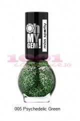MISS SPORTY OH MY GEM LAC DE UNGHII CU EFECT SPECIAL PSYCHEDELIC GREEN 005