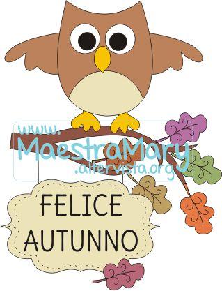 gufo con cartello felice autunno