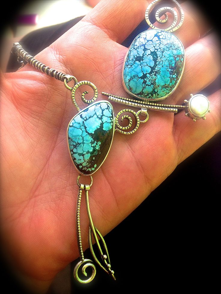 Tibetan Turquoise and cultured pearl boho necklace hand fabricated by Delias Thompson at Delias Studio, Inc.