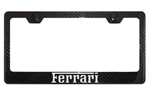 Ferrari Gloss Black Carbon Fiber License Plate Frame With Black Caps Car Accessories Online Market Carbon Fiber License Plate Frames Plate Frames