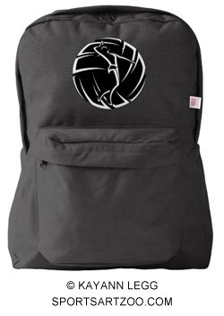 Stylized Female Volleyball Player with Ball Backpack by SportsArtZoo #volleyball #backpack #female