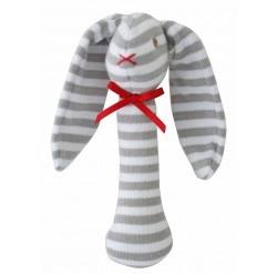 Alimrose Bunny Stick Rattle - Grey White
