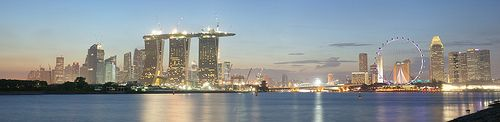 Singapore (panorama of Marina Bay Sands under construction and the Singapore Flyer)