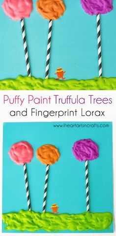 Puffy Paint Dr. Seuss Craft with Fingerprint Lorax