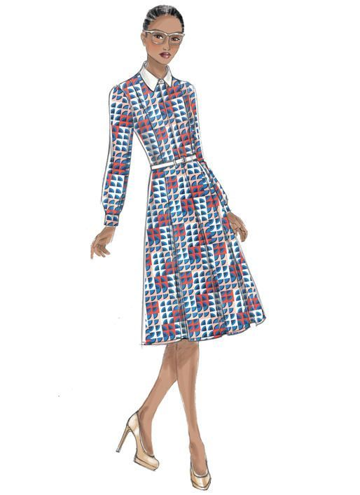 Vogue Patterns V9201. Fitted shirtdress has front band and fly button closing to waist, front princess seams that release into pleats, invisible side zipper, narrow hem, and length variations.