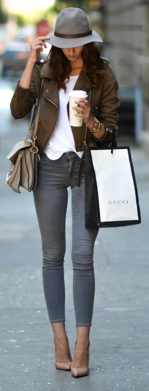 Barbora Ondrackova + khaki and grey + trend colors for fall 2016 + nude heels.  Shirt: Topshop, Jacket: Zara, Jeans: Topshop, Heels: Christian Louboutin, Bag: Chloe, Hat: Topshop, Watch: Marc Jacobs, Bracelet: Hermes