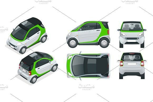 Vector compact small car. Small Compact Hybrid Vehicle. Eco-friendly hi-tech auto. Easy colour change.. Mockup #eco-friendlycars