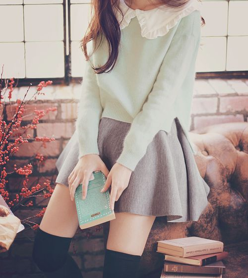 I really like the mint green sweater with the white collar, grey skirt, and the black knee high socks.