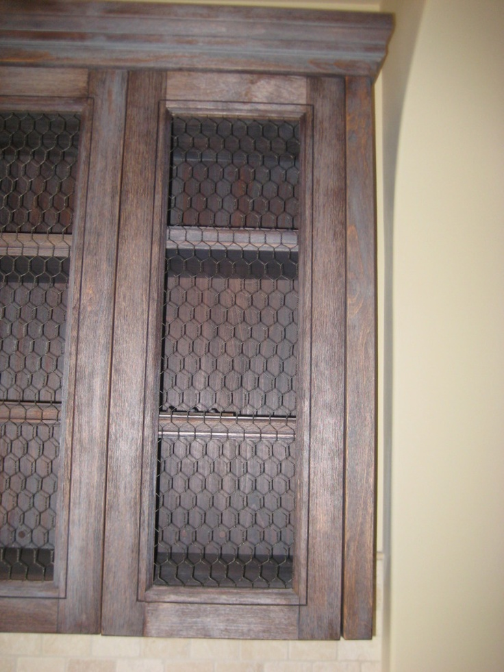 17 best images about chicken wire mesh on pinterest for Chicken wire kitchen cabinets