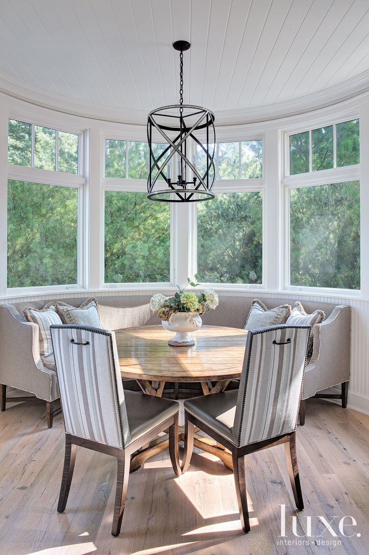 Contemporary Breakfast Area With Geometric Pendant Luxe