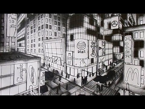 how to draw street scene in perspective