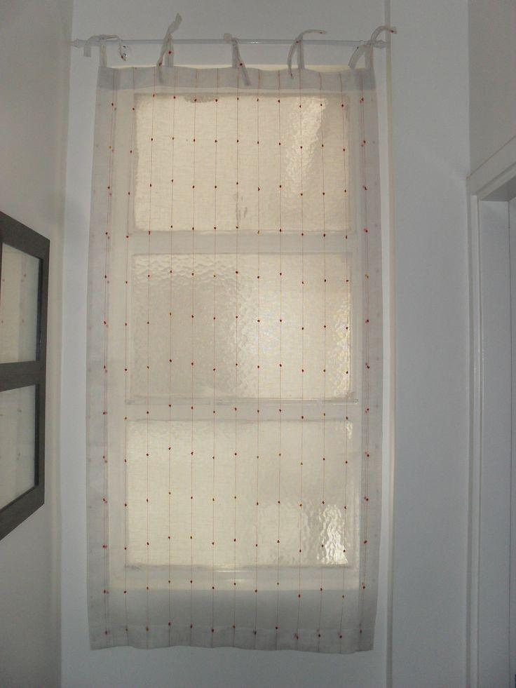 Pa o de cortina sin frunce de gasa blanca con detalles - Cortinas de gasa ...