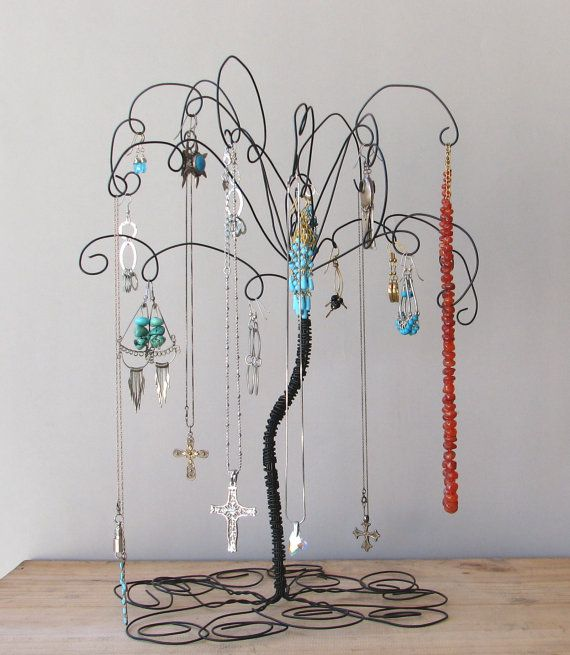 Black Wire Jewelry Tree Stand  Earring by TillaGarden on Etsy, $25.00