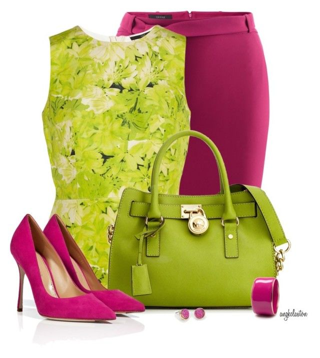 Lime and Fuchsia for the Office by angkclaxton on Polyvore featuring TIBI, Gucci, Sergio Rossi, Michael Kors and MANGO