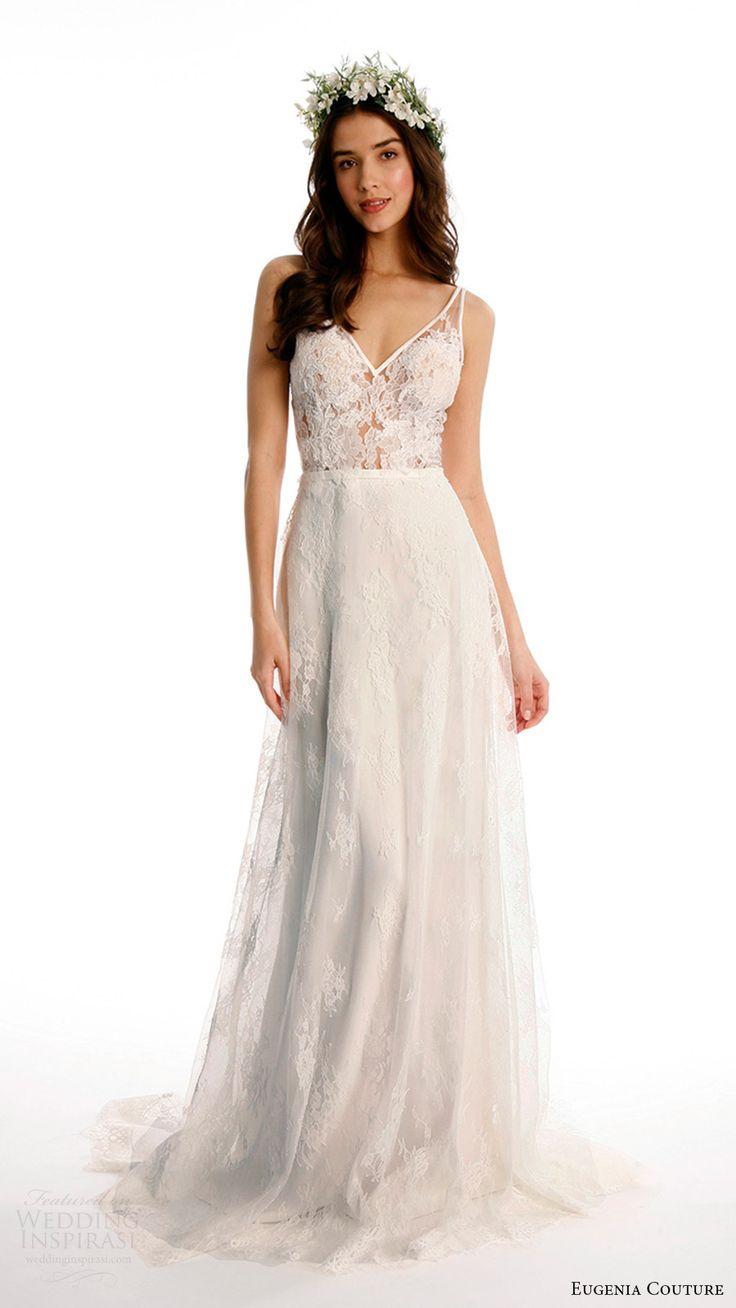 eugenia couture joy bridal spring 2017 sleeveless vneck chantilly lace aline wedding dress (makeana) mv sheer bodice