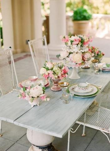 Bright and airy shabby chic dining.